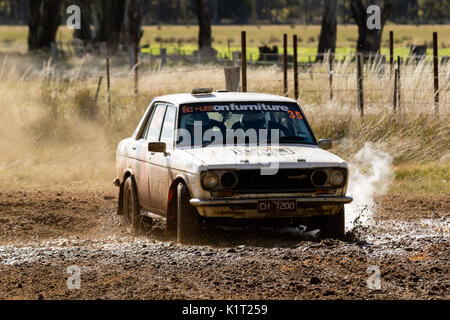 Avoca, Australia. 27th Aug, 2017. MELBOURNE, AUSTRALIA – AUGUST 27: David Lawrance and Darren Davison in a Datsun 1600 during the 2017 Victorian Rally Championship, Round 3 of the Leechs Mitsubishi Pyrenees Rush, Australia on August 27 2017. Credit: Dave Hewison Sports/Alamy Live News - Stock Image