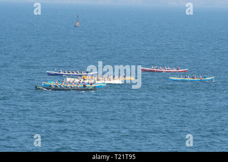 Newlyn, Cornwall, UK. 30th Mar, 2019. UK Weather. Fine weather for gig racers out competing on the sea at Mounts Bay this afternoon. Credit: Simon Maycock/Alamy Live News - Stock Image