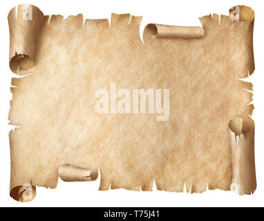 Ancient worn parchment or old papyrus isolated - Stock Image