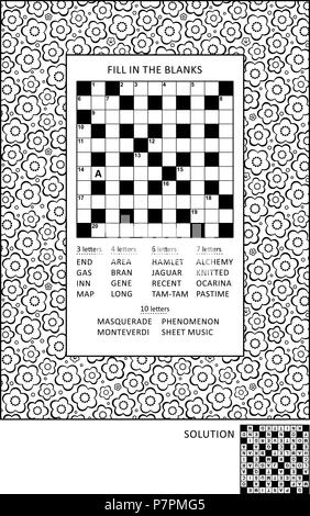Puzzle and coloring activity page for grown-ups with criss-cross, or fill in, else kriss-kross word game and wide decorative floral frame to color - Stock Image