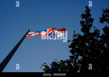 thai flag in the blue sky - Stock Image