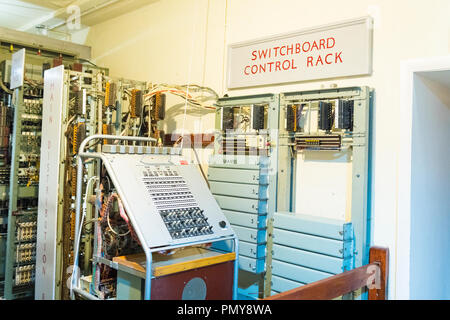 Liverpool Exchange Flags Western Approaches HQ WWII Second World War Derby House museum bunker Citadel Fortress Citadel or Fortress switchboard rack - Stock Image