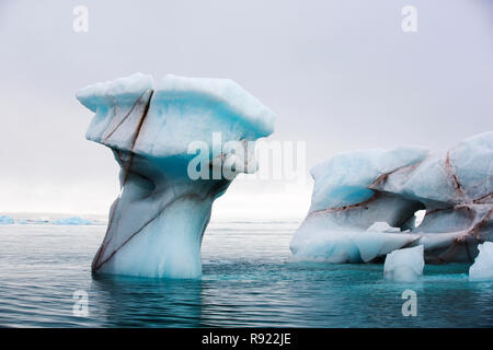 Icebergs from a glacier on Nordauslandet in northern Svalbard. All of Svalbards glaciers are retreating, even in the north of the archiapelago despite only being around 600 miles from the North Pole. - Stock Image