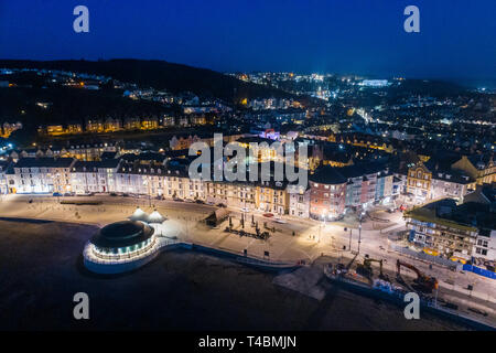 Aerial view of Aberystwyth , on the Cardigan Bay coast, west wales, at night. March 2019 - Stock Image