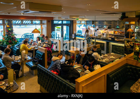 Interior of Trencher's reknowned Fish and Chip restaurant in Whitby North Yorkshire - Stock Image