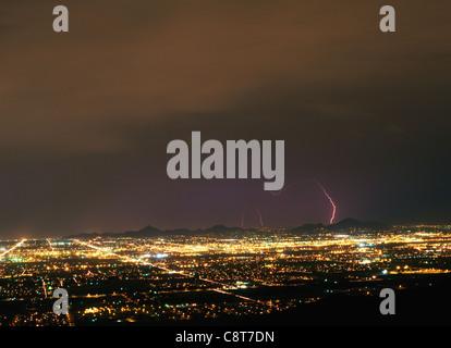Lightening over the city of Phoenix, Arizona - Stock Image