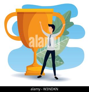 profesional businessman with prize cup and leaves - Stock Image