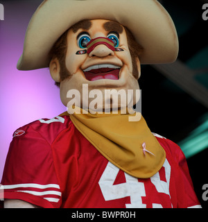 San Francisco 49er mascot Sourdough Sam performs during the NFL rally at Trafalgar Square, London on October 30, - Stock Image