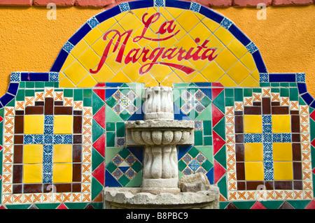 Historic Market Square San Antonio Texas Tx La Margarita Restaurant Oyster Bar sign outdoor art colorful tile - Stock Image