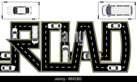 Road. Highway stylized inscription. Trucks and cars. Isolated illustration - Stock Image