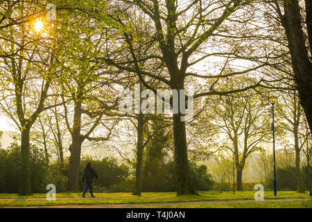 Aberystwyth Wales UK, Wednesday 17 April 2019. UK Weather: People walking in the park on a warm and sunny spring morning in Aberystwyth Wales, as the weather is headed on an improving track as the country looks forward to the Easter Bank Holiday weekend photo Credit: Keith Morris/Alamy Live News - Stock Image