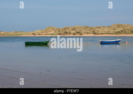 Small Boats anchored in the Ythan Etstuary, Newburgh, Aberdeenshire, Scotland, UK - Stock Image