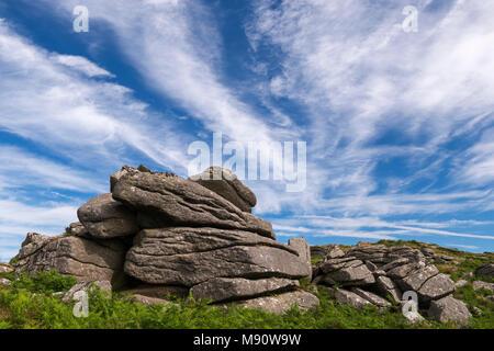 Granite outcrop near Saddle Tor in Dartmoor National Park, Devon, England. Summer (July) 2017. - Stock Image