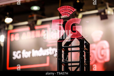 31.03.2019, Hannover, Lower Saxony, Germany - 5G for Industry Projection at the Hannover Fair. 00X190331D027CAROEX.JPG [MODEL RELEASE: NO, PROPERTY RE - Stock Image