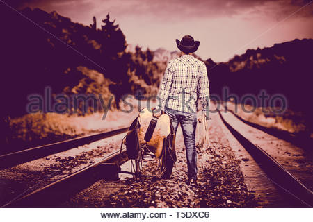 A Cowboy goes west - Stock Image