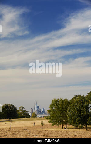 View from Brockwell Park to London skyline, London, England, Great Britain - Stock Image