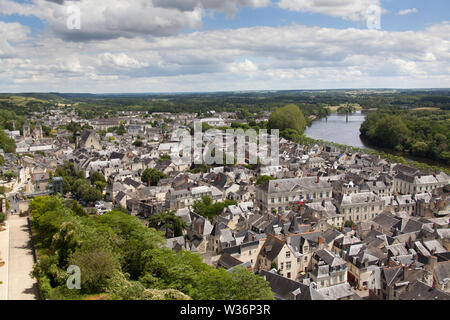Chinon, France. Picturesque aerial view of Chinon, with the River Vienne in the background. The scene was captured looking east along the River Vienne - Stock Image