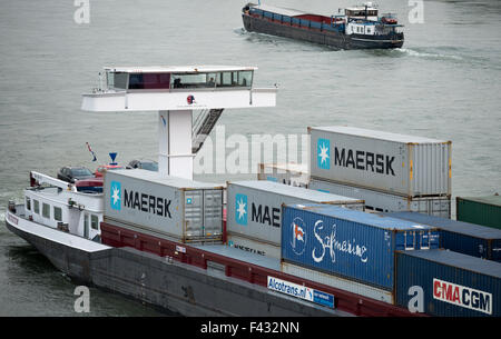 Container ship Factotum operated by the Dutch company Shipping Factory, river Rhine, Leverkusen, Germany. - Stock Image