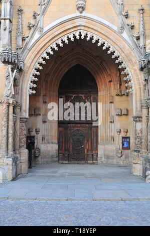 Main entrance to Cathedral of St. John the Baptist (Archikatedra Sw. Jana Chrzciciela) on Ostrow Tumski (Cathedral Island) in Wroclaw, Poland. - Stock Image