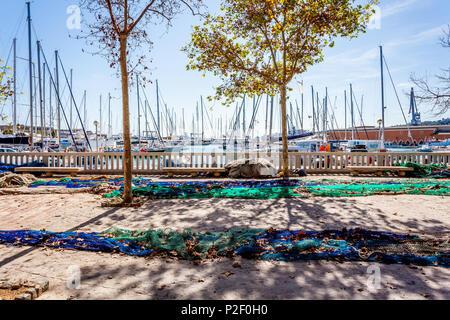 Fisherman nets at the port of Mallorca. Puerto de Palma, Port of Palma, Palma, Mallorca, Spain, Europe - Stock Image