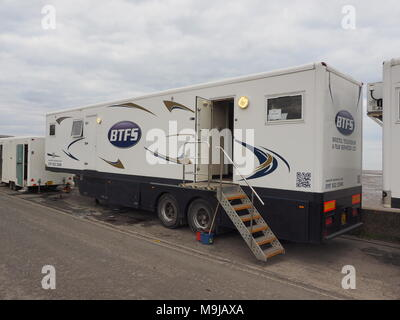 Leysdown, Kent, UK. 26th March, 2018. An ITV production crew prepares to film Dark Heart in Leysdown, a new ITV crime series staring Tom Riley. Credit: James Bell/Alamy Live News - Stock Image