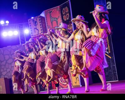 Aswan, Egypt. 17th Feb, 2019. Moroccan artists dance at the opening ceremony of the 7th Aswan International Festival of Culture and Arts in Aswan, Egypt, Feb. 17, 2019. The 7th Aswan International Festival of Culture and Arts kicked off here on Sunday with the participation of folk and traditional bands from 13 African, Asian and European countries. Credit: Meng Tao/Xinhua/Alamy Live News - Stock Image