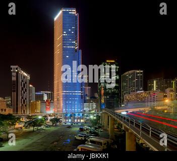 Miami Tower at night - Stock Image