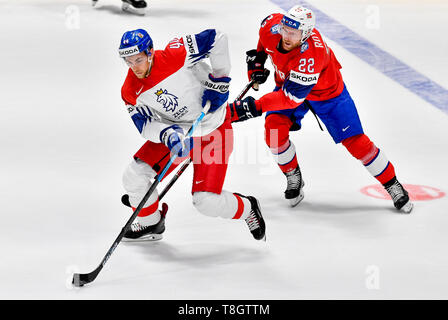 Jan Rutta (CZE), left, and Martin Roymark (NOR) in action during the match Czech Republic against Norway during the 2019 IIHF World Championship in Br - Stock Image