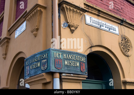 Facade of the Hanseatic Museum on the Bryggen in Bergen, Norway - Stock Image