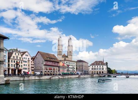 River Limmat looking towards the GrossmUnster, Zurich, Lake Zurich, Switzerland - Stock Image