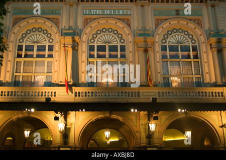 spain Barcelona Ramblas opera fassade illuminated at night - Stock Image
