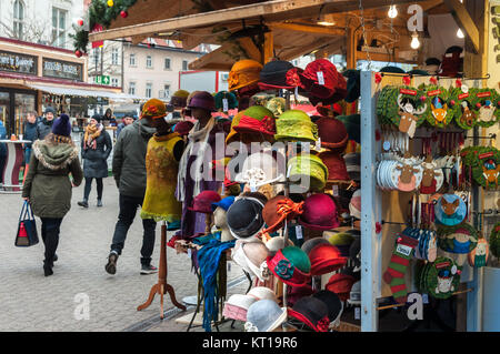Christmas market in Budapest at Vörösmarty Square - Stock Image