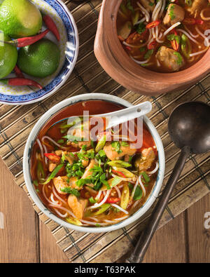 Khao poon. Rice noodle soup. Laos Food - Stock Image
