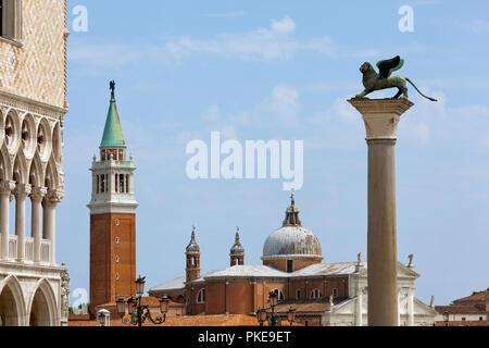 View of San Giorgio Maggiore from Piazzetta, near St. Marks Square; Venice, Italy - Stock Image