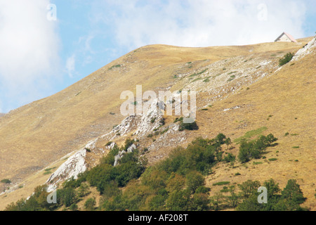 The Monte Sibilla Rifugio is a welcome stop off for hikers and sightseers in the Sibillini National park Le Marche - Stock Image