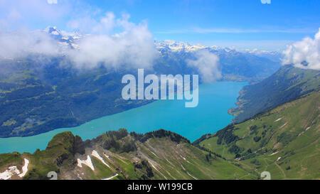 Turquoise Lake Brienz seen from Mount Brienzer Rothorn, Switzerland. - Stock Image