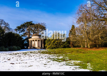 Temple of Ancient Virtue in the snow at Stowe, Buckinghamshire, UK - Stock Image