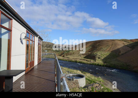 The view from the hotel balcony, river and hills in background - Stock Image