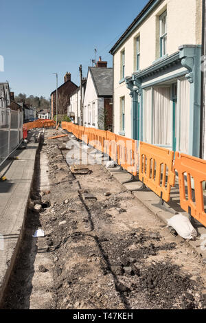 Presteigne, Powys, Wales, UK. Removal of the pavement in the town centre prior to building a bike path or cycle track on the route to the local school - Stock Image