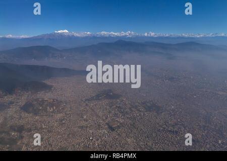 Aerial view of Kathmandu and the Himalayas, Nepal, Asia - Stock Image