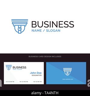 Camera, Security, Secure, Cam Blue Business logo and Business Card Template. Front and Back Design - Stock Image