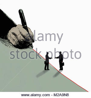 Two businessmen reaching to shake hands across red dividing line being drawn by hand - Stock Image