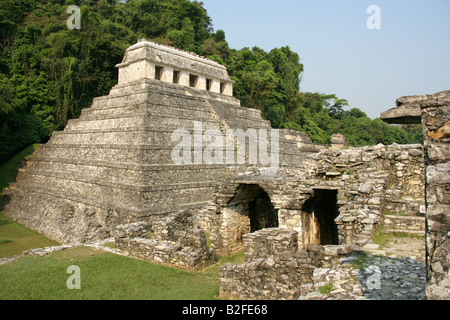 Temple of Inscriptions from the Palace, Palenque Archeological Site, Chiapas State, Mexico. Location of the Tomb - Stock Image