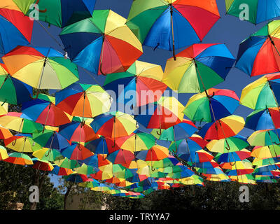 Display of umbrellas above a square in the city of Famagusta in the Turkish Republic of Northern Cyprus. - Stock Image