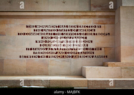 The Château-Thierry American Monument -dedication in English - Stock Image
