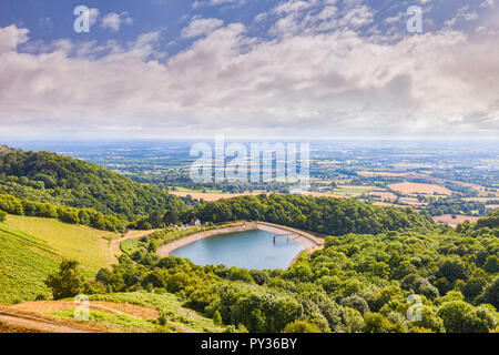 Malvern reservoir, Malvern Hills, Herefordshire and Worcestershire, England - Stock Image