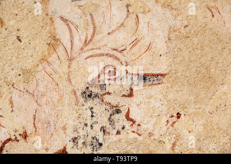 Detail of medieval wall painting church of Ilketshall St Andrew, Suffolk, England, UK - Stock Image