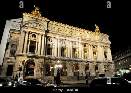 Nighttime exterior of The Opera Garnier,Paris,France - Stock Image