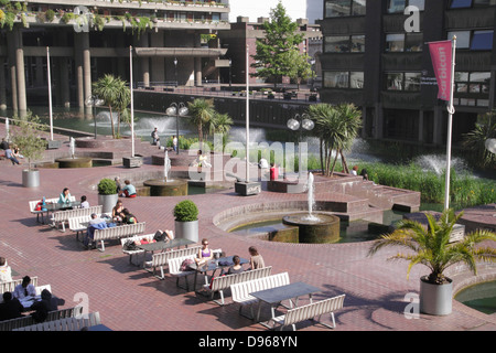 Lakeside terrace at the Barbican Arts Centre London - Stock Image