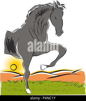 Horse and nature.  illustration of standing horse figure on the lawns. - Stock Image